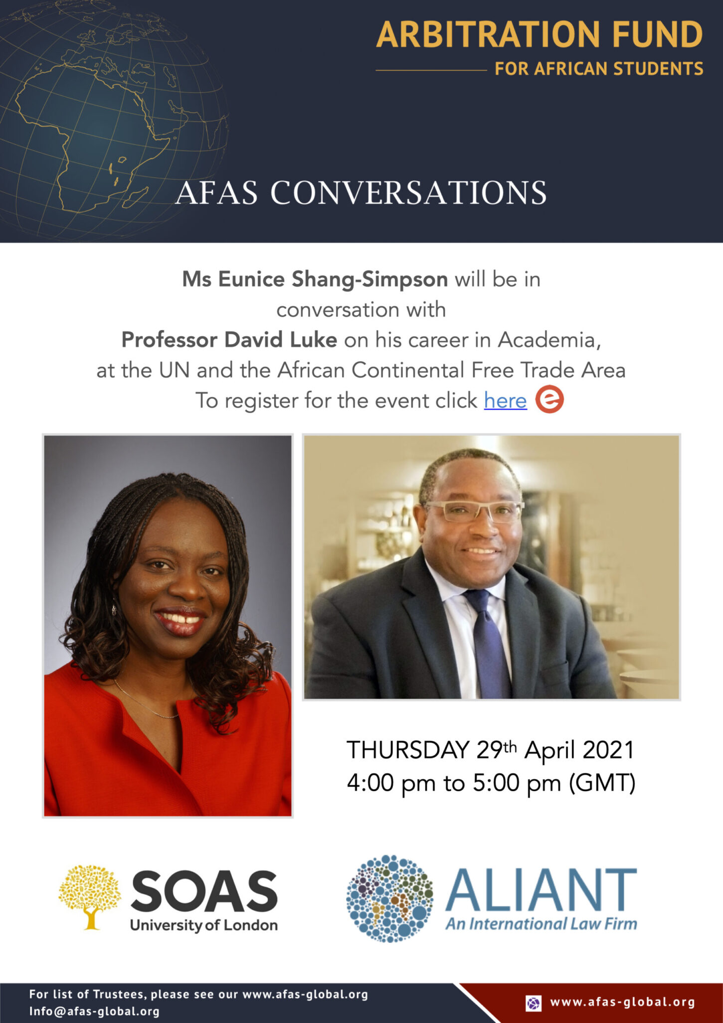 Ms Eunice Shang-Simpson will be in conversation with Professor David Luke